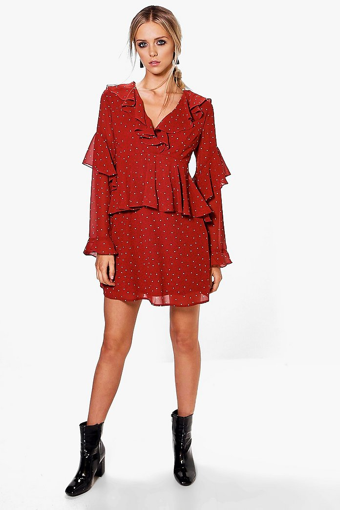 Charlotte Spot Ruffle Tea Dress