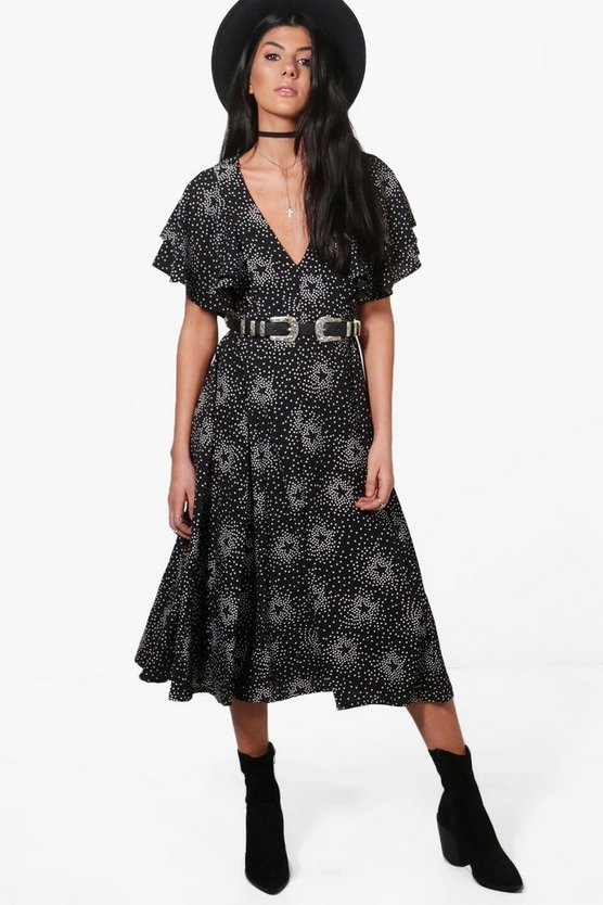 Emma Star Print Ruffle Midaxi Dress