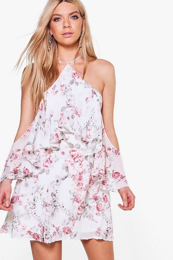 Cha Floral Cold Shoulder Ruffle Skater Dress