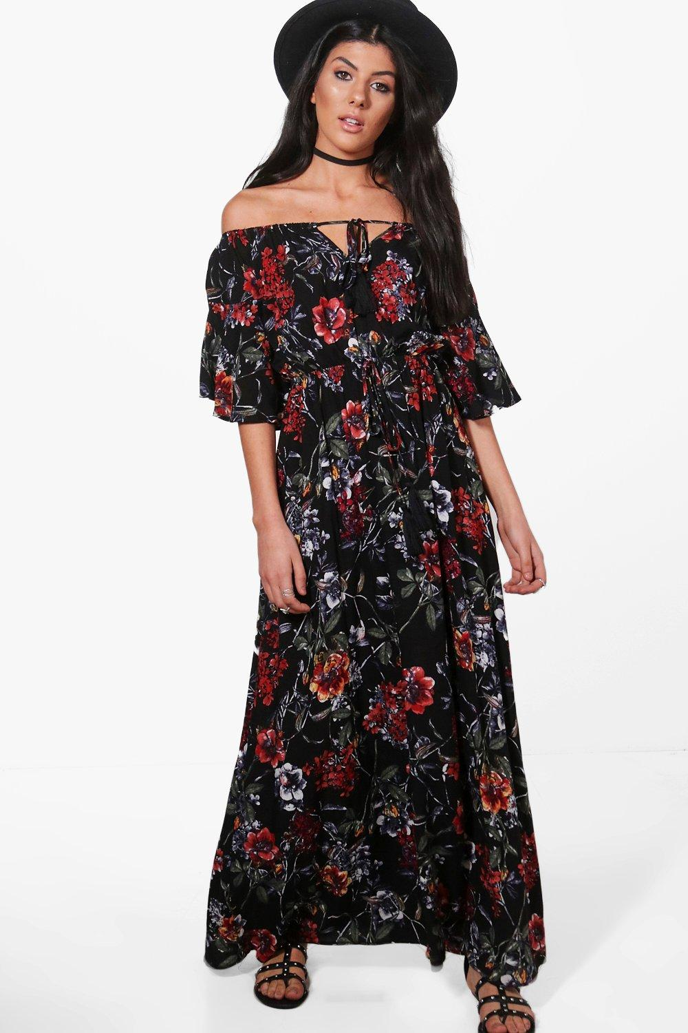 Angel Sleeve Floral Maxi Dress  black