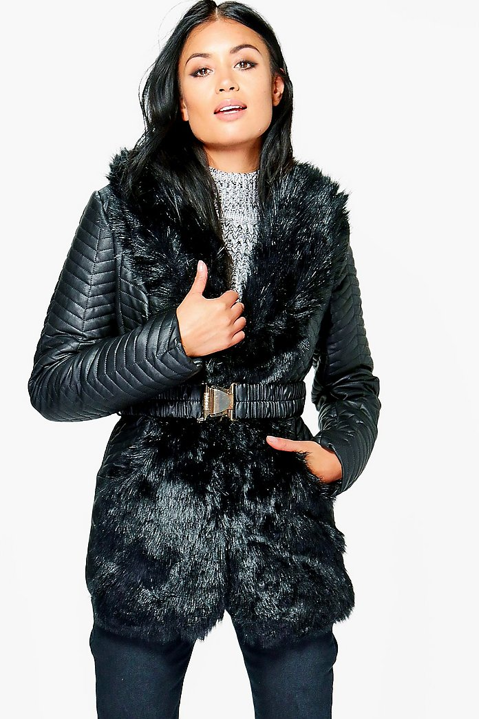 Jessica Quilted Jacket With Faux Fur Collar