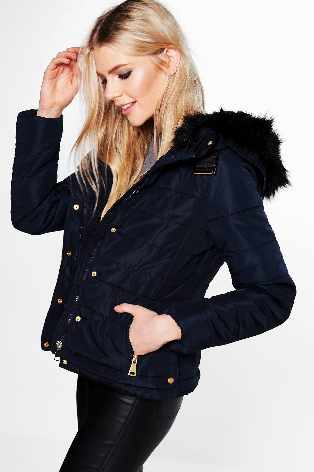Emily Padded Jacket With Faux Fur Hood | Boohoo