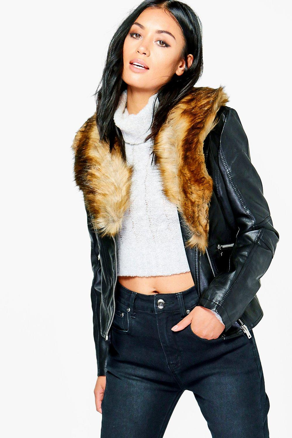 Sophie Faux Leather Jacket With Faux Fur Collar | Boohoo