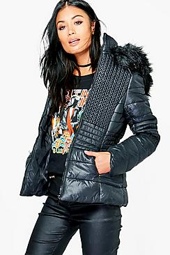 Grace Padded Jacket With Faux Fur Hood