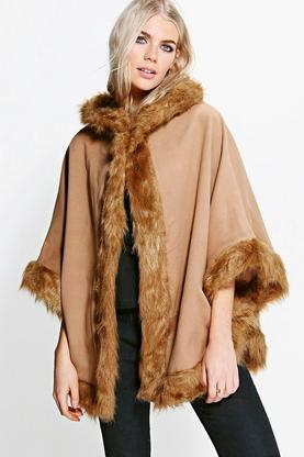 Katie Faux Fur Trim Cape