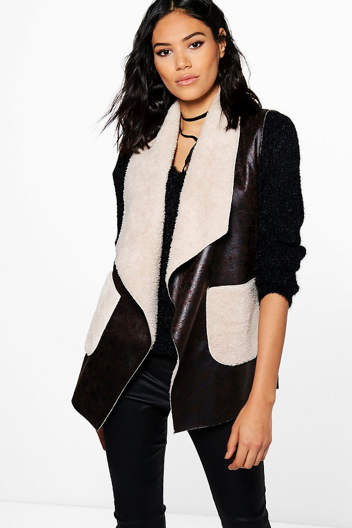 Eleanor Waterfall Faux Fur Collar Gilet
