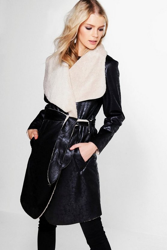 Emilia Waterfall Faux Fur Collar Belted Duster