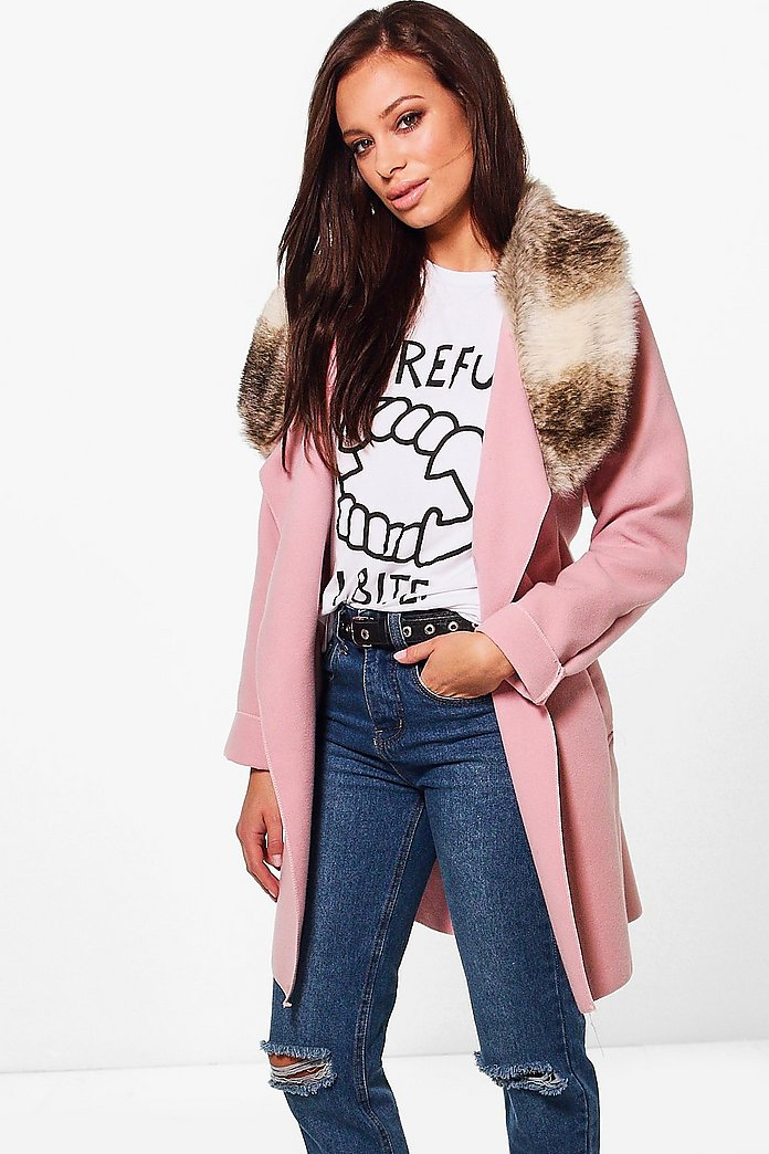 Eliza Faux Fur Collar Wool Look Coat