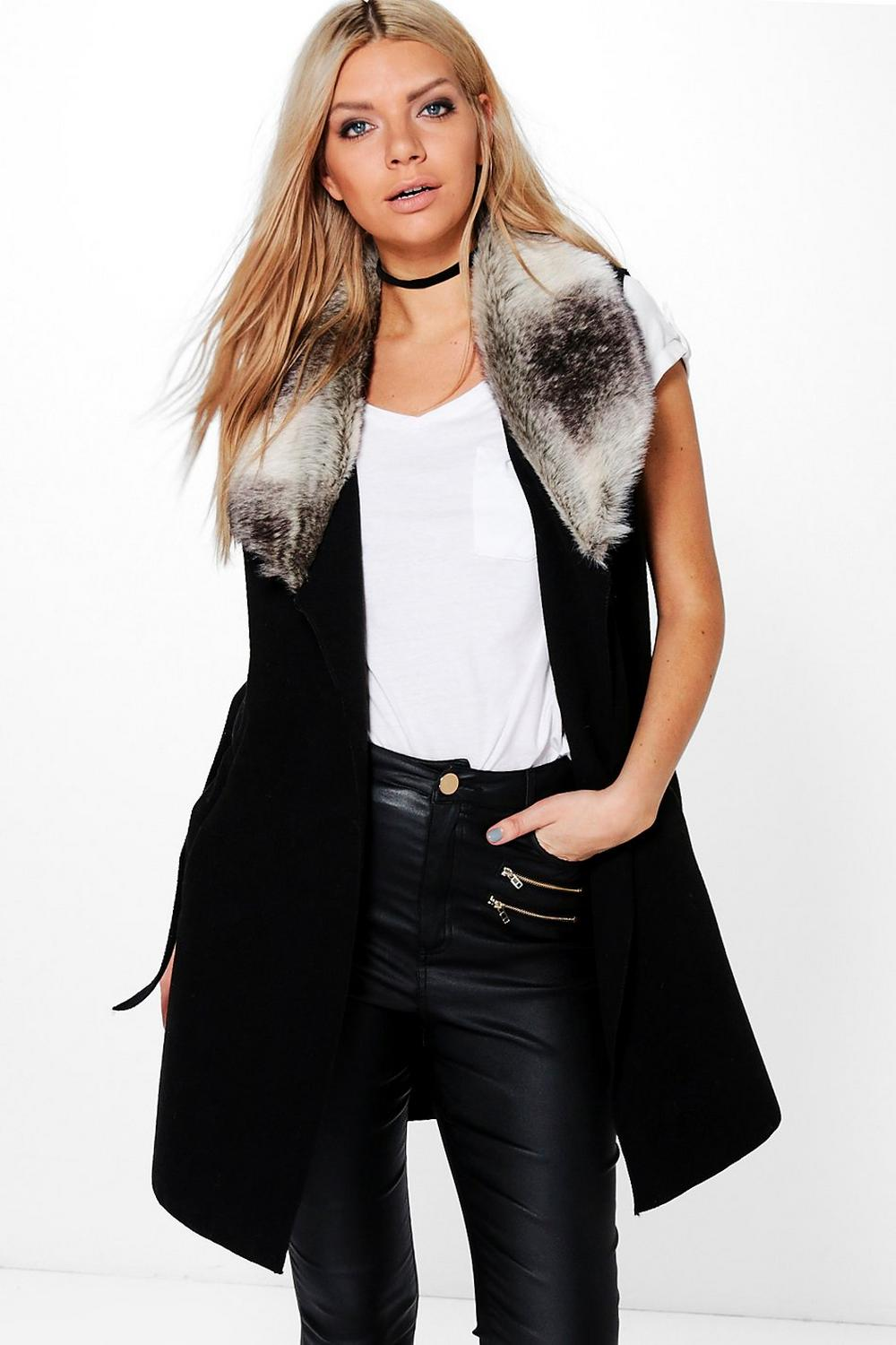 Faith Faux Fur Collar Sleeveless Wool Look Coat