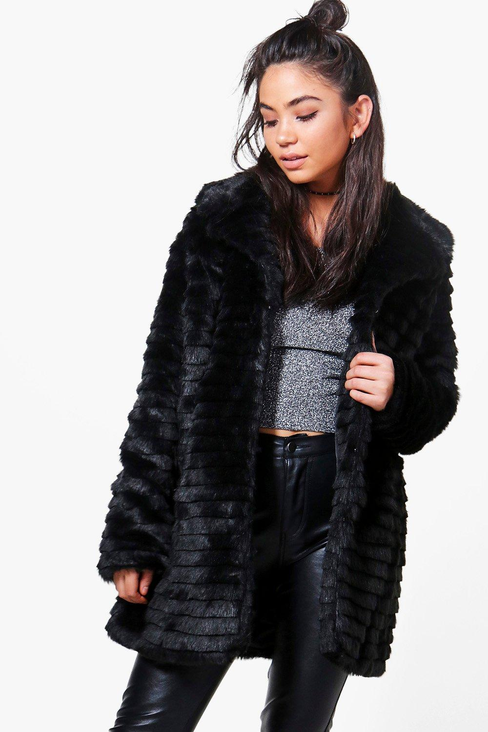Evelyn Black Faux Fur Coat | Boohoo