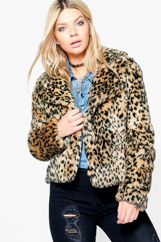 Bella Crop Leopard Faux Fur Jacket