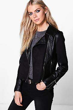 Harriet Suedette Panel PU Biker Jacket