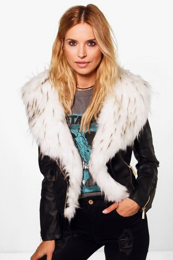 Julia Faux Fur Collar PU Biker Jacket