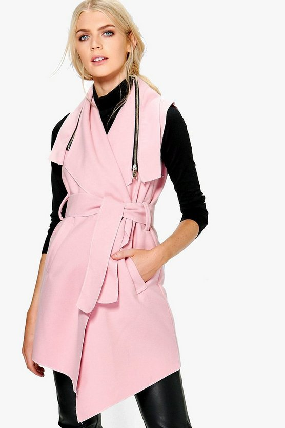 Annabelle Sleeveless Coat With Zip