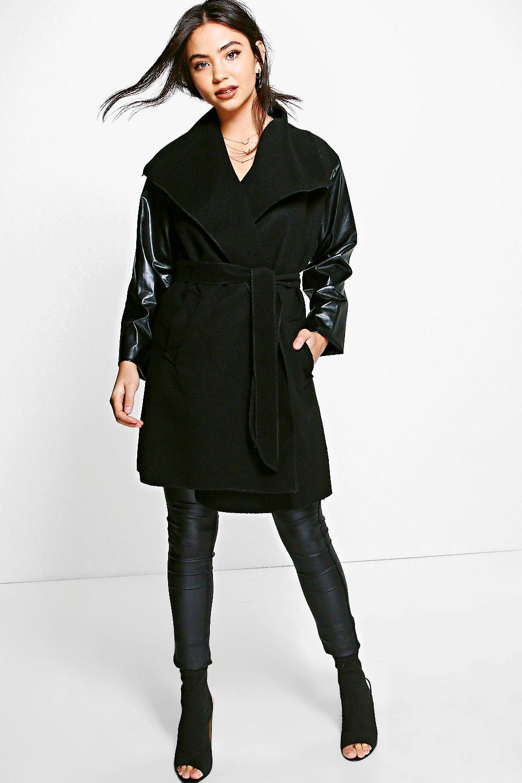 Faux Leather Sleeve Coat  black