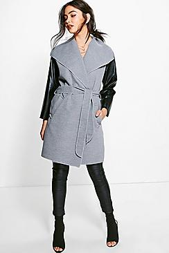 Lauren Faux Leather Sleeve Coat