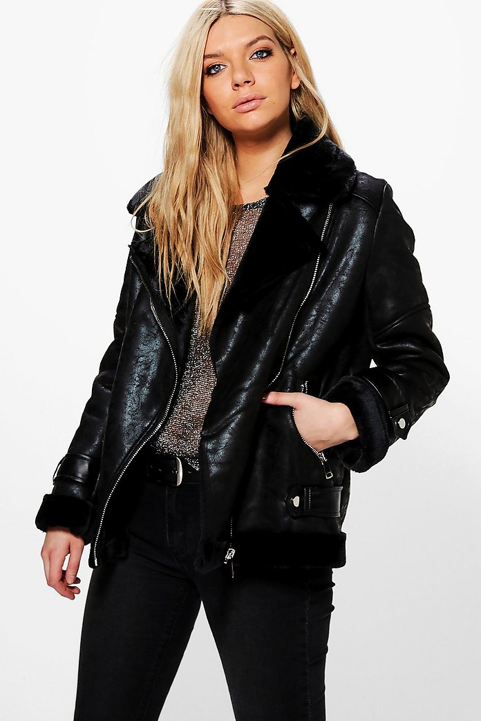 Sarah Faux Fur Lined Aviator Jacket