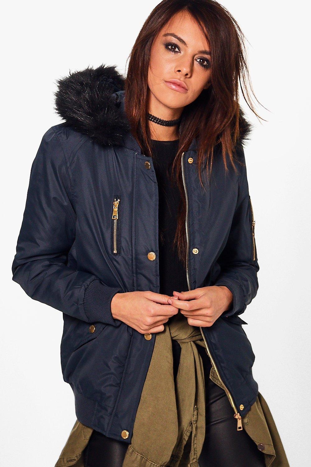 Maria Padded MA1 Bomber With Faux Fur Hood