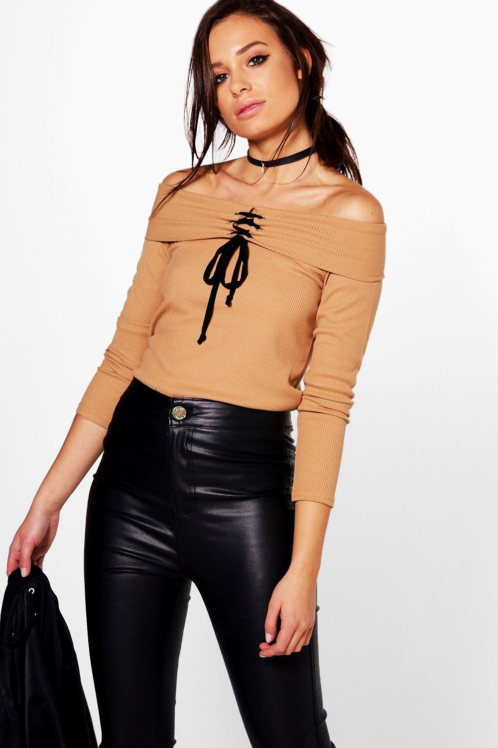 Carmel Lace Up Ribbed Bardot Top