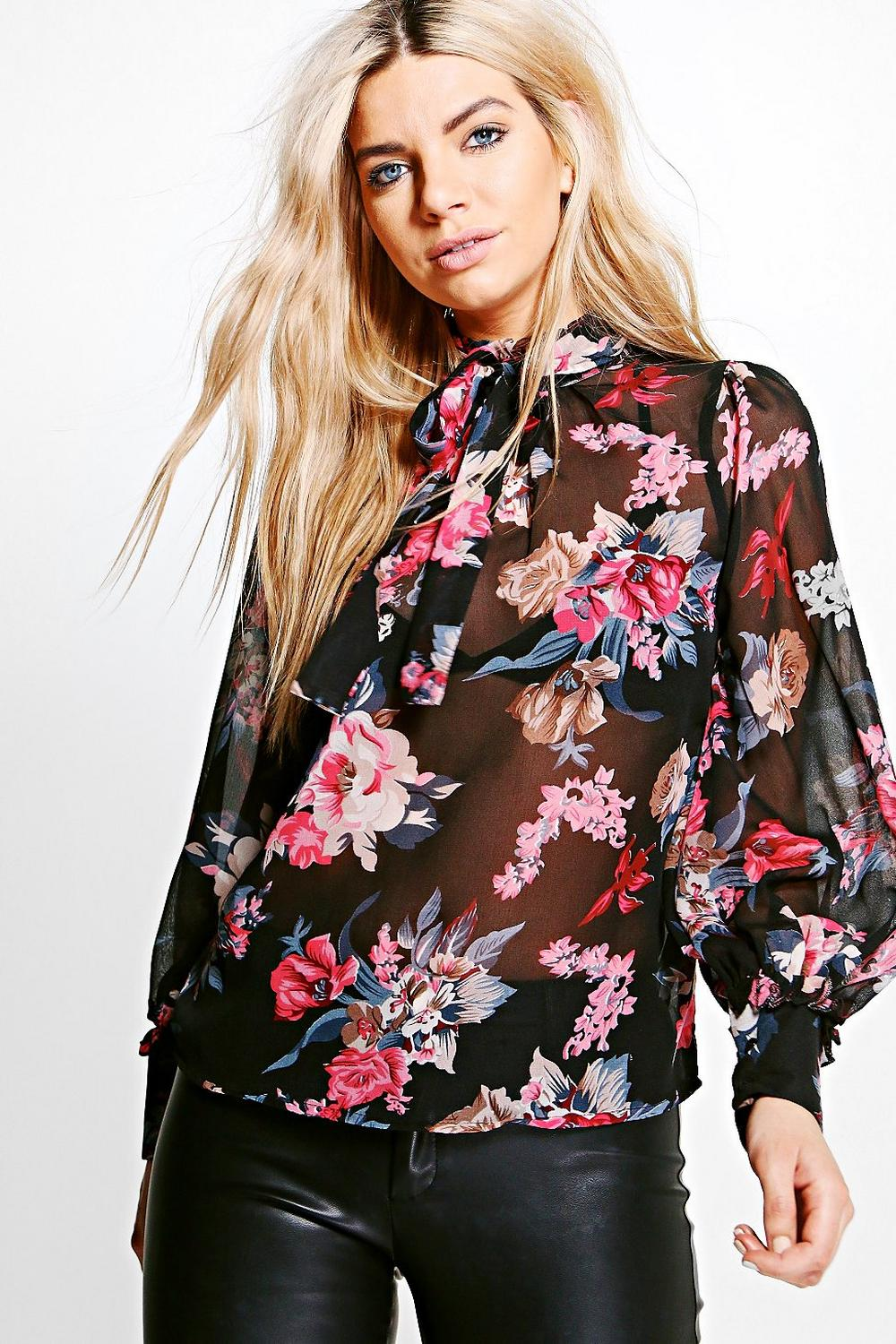 Honey Floral Printed Tie Neck Blouse