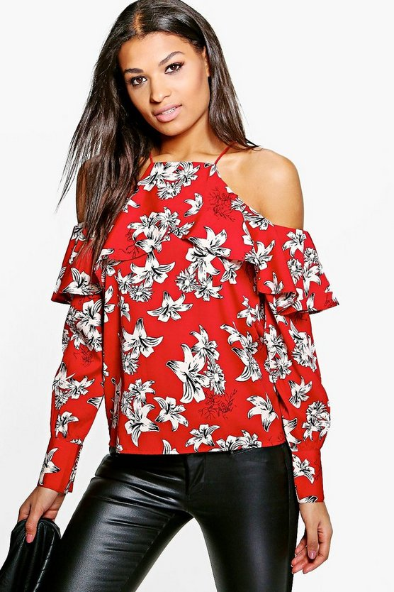 Pearl Printed Cold Shoulder Blouse