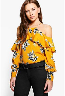 Molly Printed Cold Shoulder Blouse