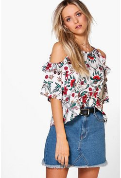Naomi Printed Cold Shoulder Top