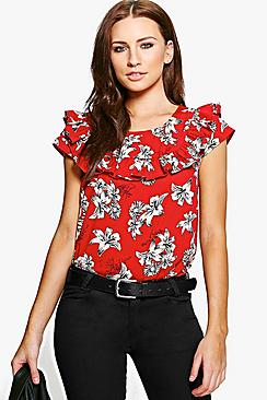 Jenny Printed Ruffle Woven Top