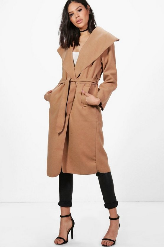 Ellie Oversized Shawl Collar Belted Coat