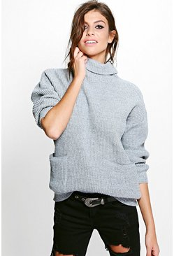 Zoe Marl Cowl Neck Pocket Jumper