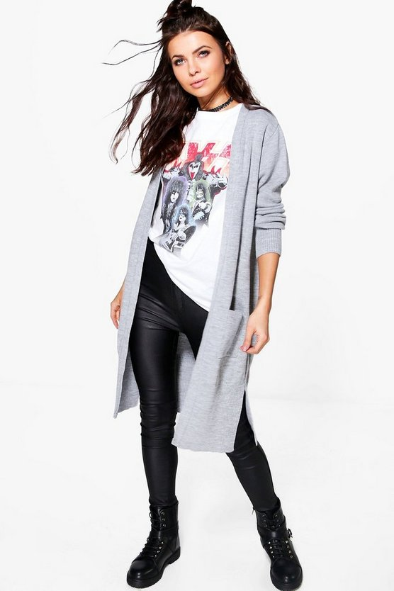 Lottie Rib Cuff Longline Pocket Cardigan