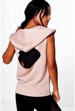 Ella Fit Hooded Cut Out Tank Running Sweat