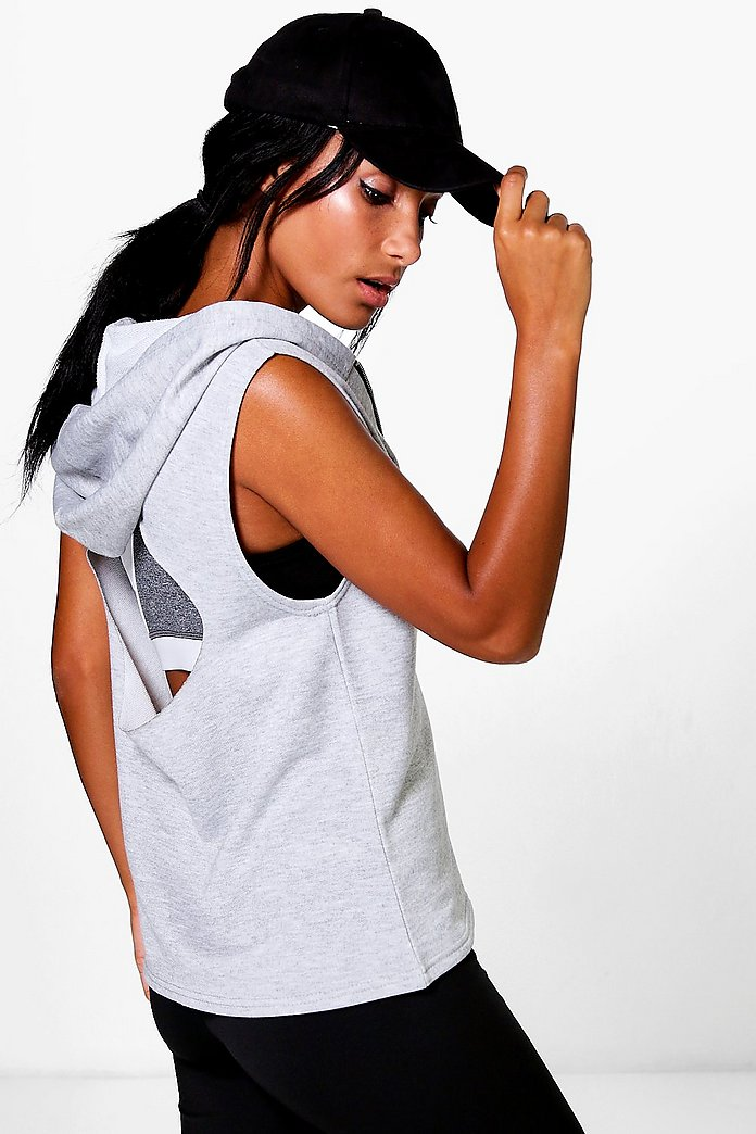 Eve Fit Hooded Cut Out Tank Running Sweat