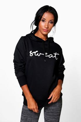 Alice Fit Running Hooded Slogan Sweat