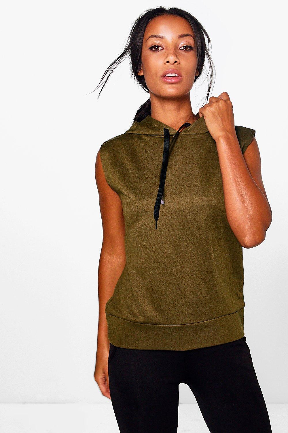 Fit Running Hooded Tank Sweat - khaki