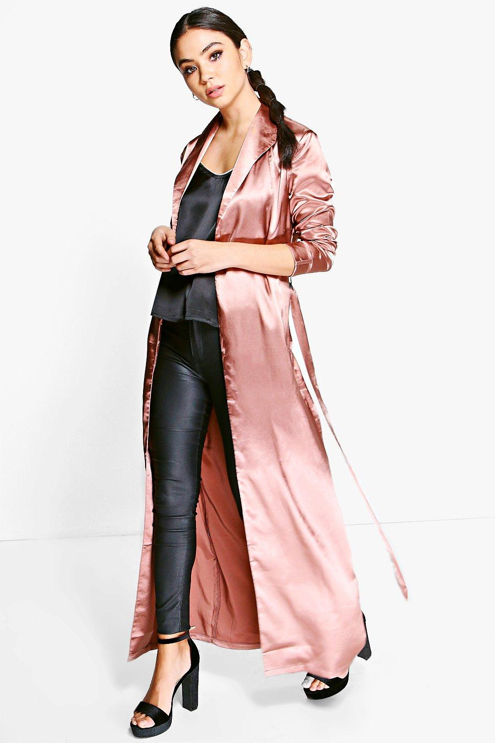 Abigail Belted Satin Duster