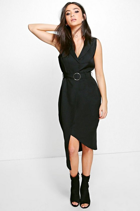 Emma Tailored Belted Woven Midi Dress