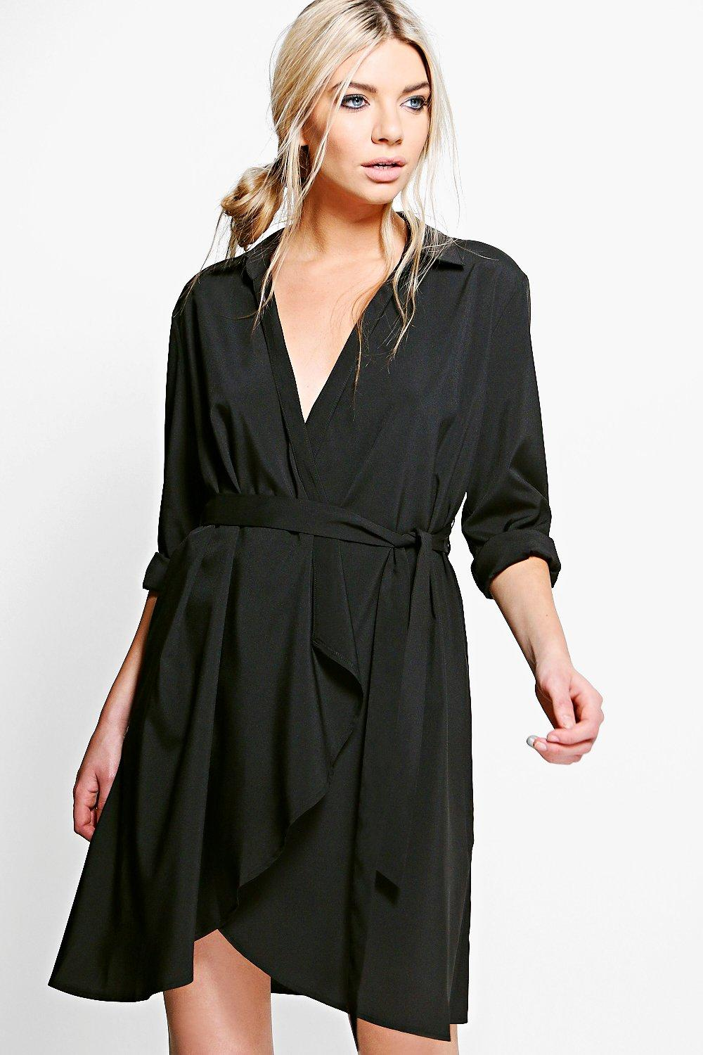 Wrap Over Woven Belted Shirt Dress  black
