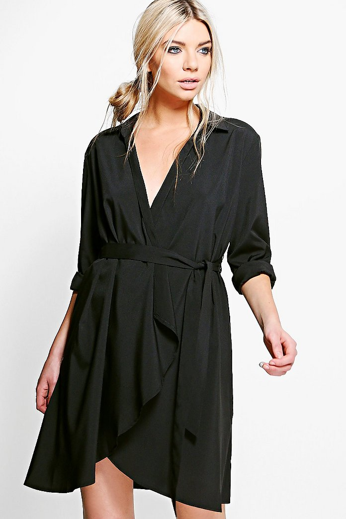 Lauren Wrap Over Woven Belted Shirt Dress