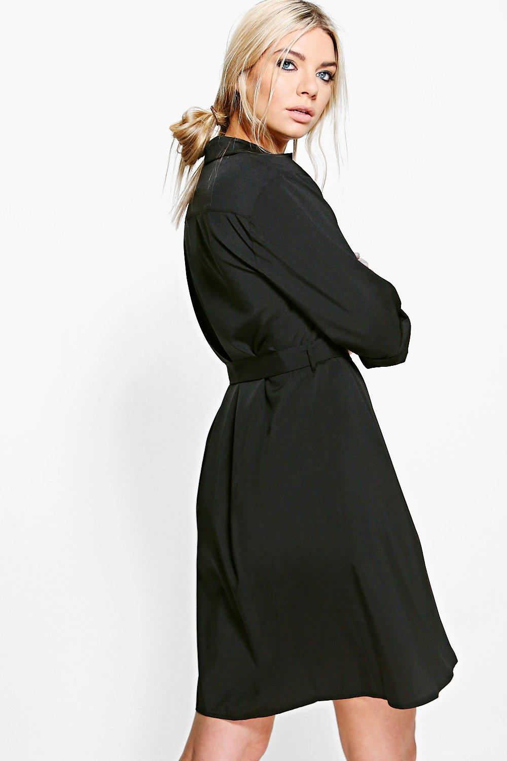 Creative Details About Boohoo Womens Camelia Lace Sleeve Belted Shirt Dress
