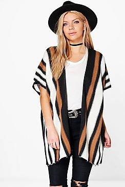 Olivia Blanket Stripe Cape Cardigan