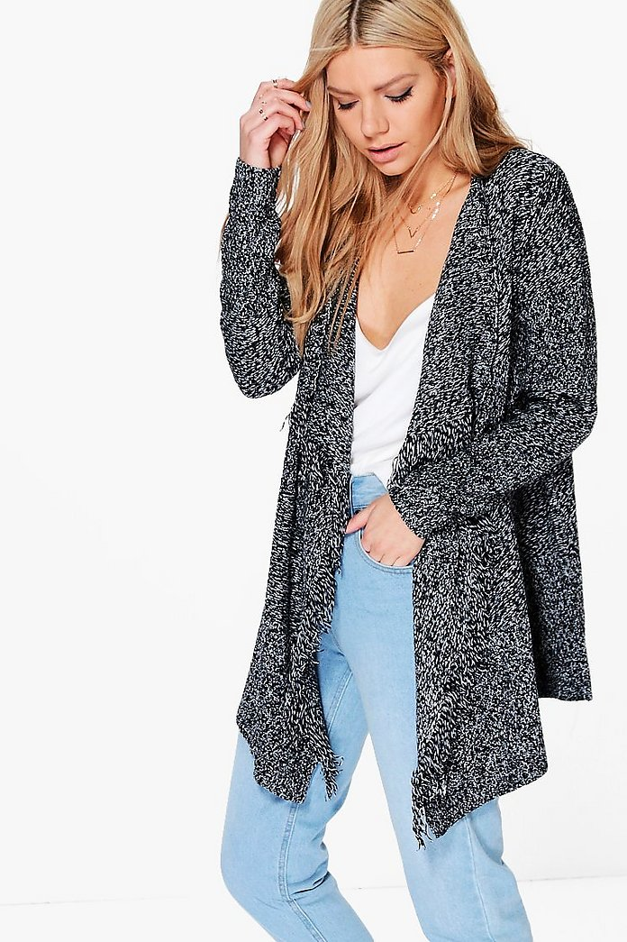 Ruby Fringed Waterfall Cardigan