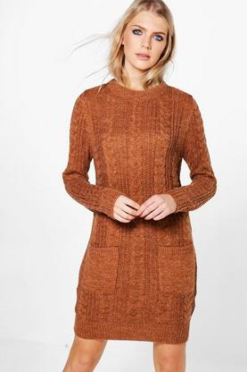 Evie Cable Knit Jumper Dress