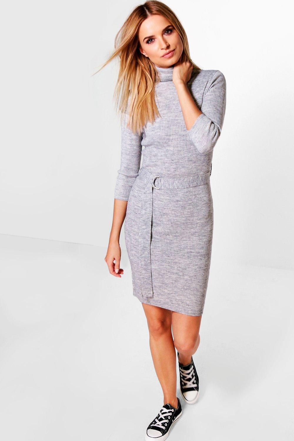 Mia Turtle Neck Belted Rib Knit Dress