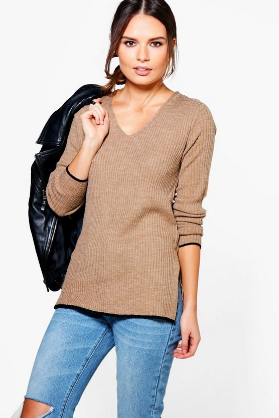 Lucy Rib Knit Jumper With Tipped Cuffs