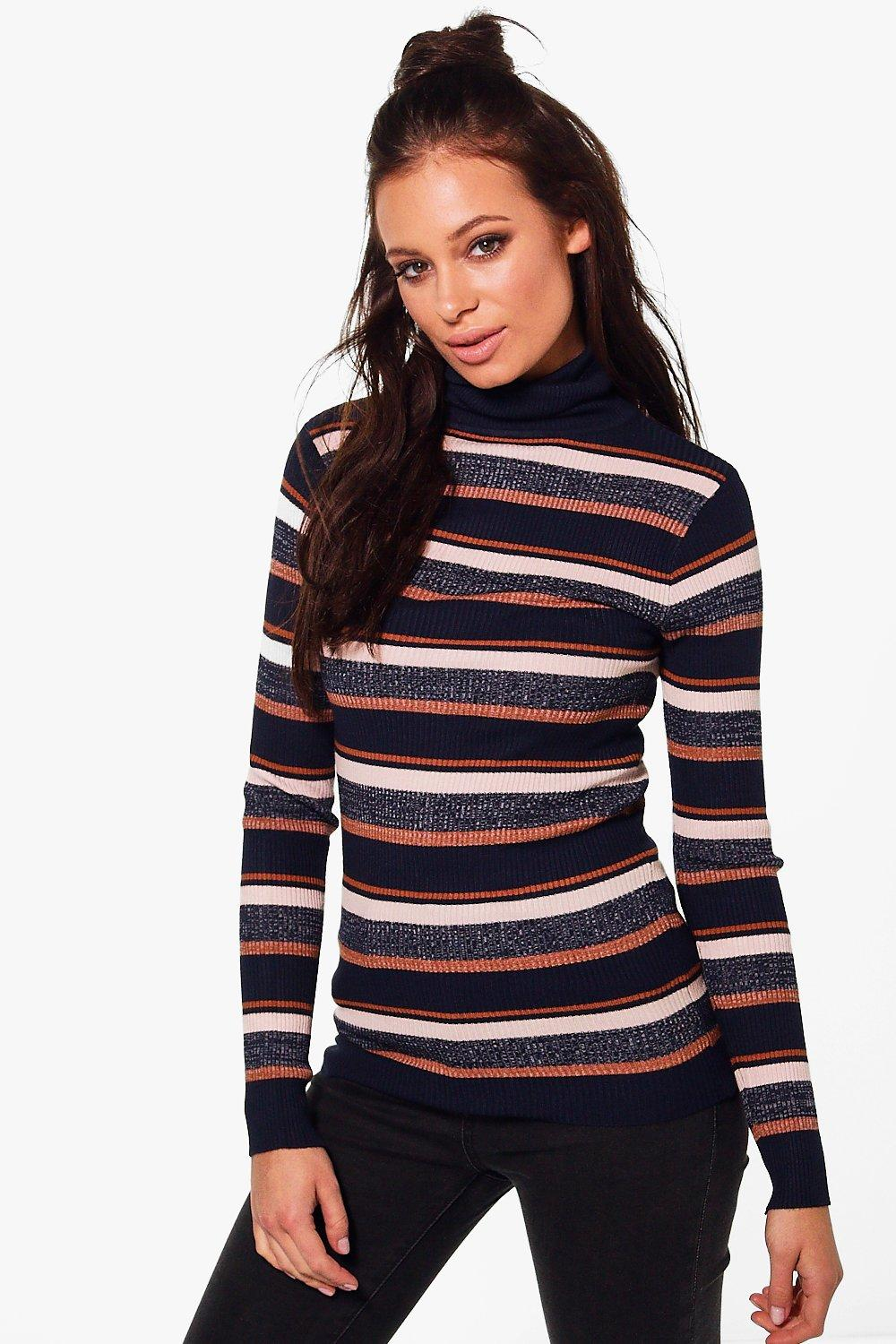 Abigail Turtle Neck Stripe Rib Knit Jumper
