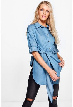 Rosie Tie Waist Chambray Denim Shirt