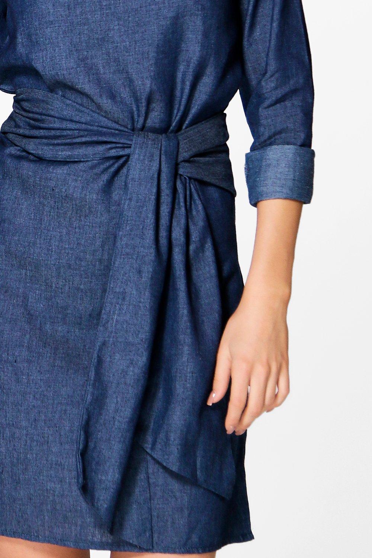 boohoo womens rosie tie waist chambray denim dress ebay