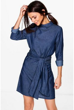 Rosie Tie Waist Chambray Denim Dress