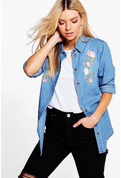 Rosie Embroidered Denim Shirt